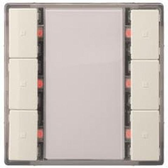 Выключатель кнопочный UP 223/14 DELTA i-system, тройной (6 кнопок), с LED индикацией и термодатчиком, титановобелый (active, BTI, требует BTM UP 117)