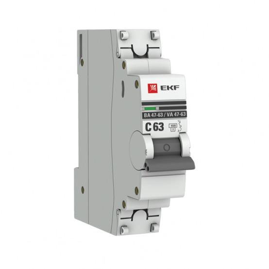 Автоматический выключатель 1P 63А (C) 4,5kA ВА 47-63 EKF PROxima