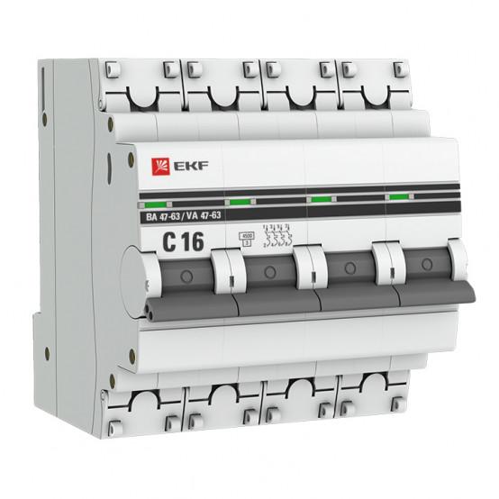 Автоматический выключатель 4P 16А (C) 4,5kA ВА 47-63 EKF PROxima