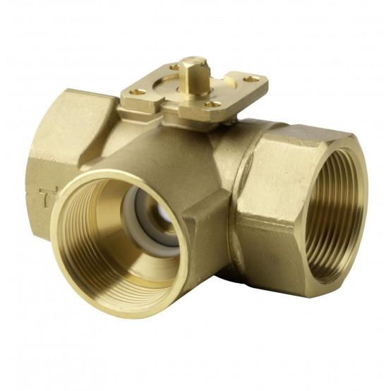 Клапан шаровой 3-ходовой, внутренняя резьба, PN40, DN32, KVS 16