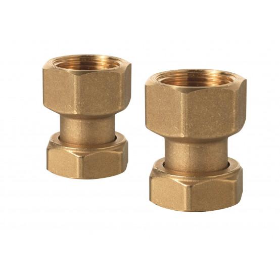 Комплект из пары латунных резьбовых фитингов с внутренней резьбой (соответствие ISO 228-1)