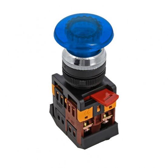 Кнопка AELA-22 синяя с подсветкой NO+NC 220В Грибок EKF PROxima
