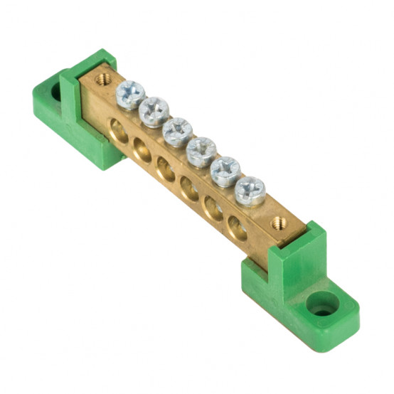 """Шина """"0"""" PE 8x12мм 6 отверстий латунь с контактной пластиной 2 зелёных угловых изолятора EKF PROxima"""