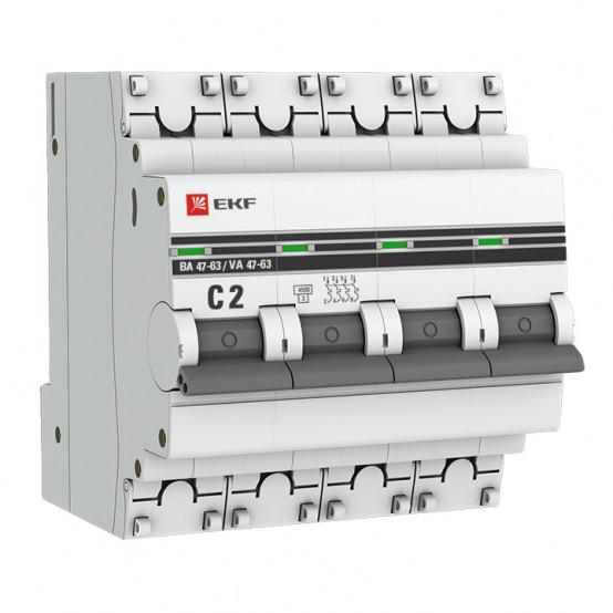 Автоматический выключатель 4P 2А (C) 4,5kA ВА 47-63 EKF PROxima