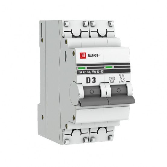 Автоматический выключатель 2P 3А (D) 4,5kA ВА 47-63 EKF PROxima