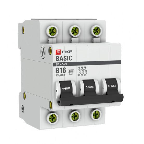 Автоматический выключатель 3P 16А (B) 4,5кА ВА 47-29 EKF Basic