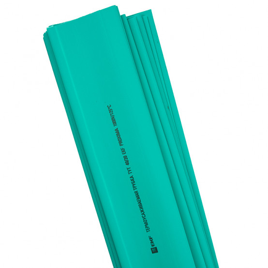 Термоусаживаемая трубка ТУТ нг 20/10 зеленая в отрезках по 1м EKF PROxima
