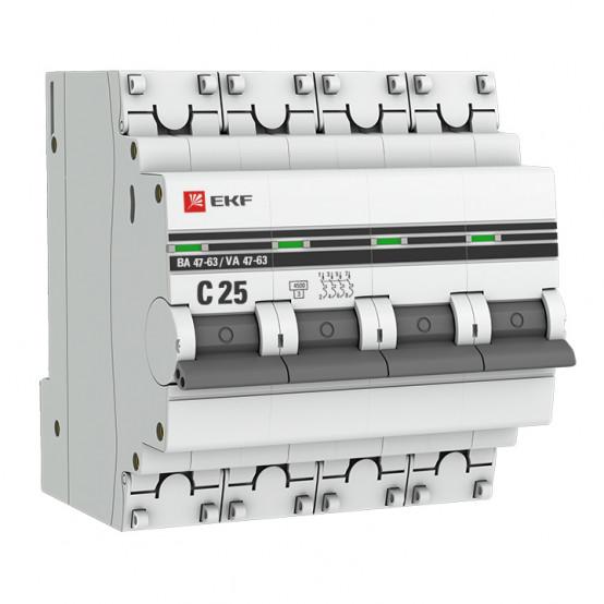 Автоматический выключатель 4P 25А (C) 4,5kA ВА 47-63 EKF PROxima