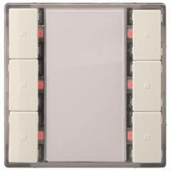 Выключатель кнопочный, тройной, светодиод состояния, титаново-белый