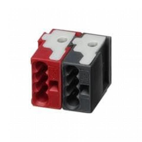 Шинная клемма двухполюсная (красный/чёрный), 4 втычных зажима