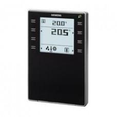 Комнатный модуль с KNX и датчиками температуры, влажности, CO2, дисплеем и клавишами. Чёрный цвет.