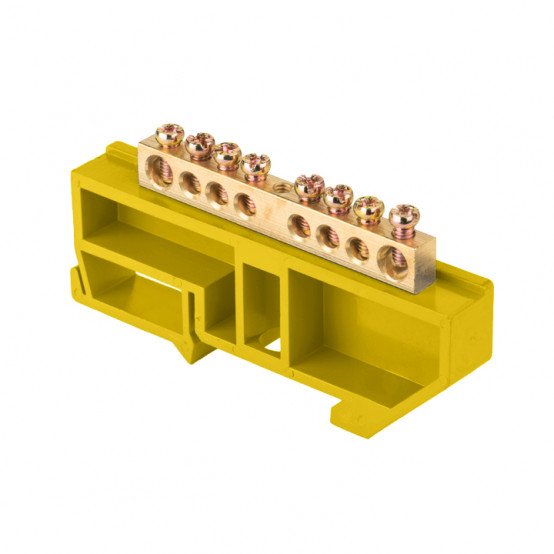 "Шина ""0"" N (6х9мм) 8 отверстий латунь желтый изолятор на DIN-рейку розничный стикер EKF PROxima"