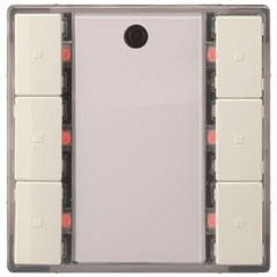 Выключатель кнопочный, тройной, светодиод состояния, с контроллером сцен, с ИК-приёмником, титаново-белый