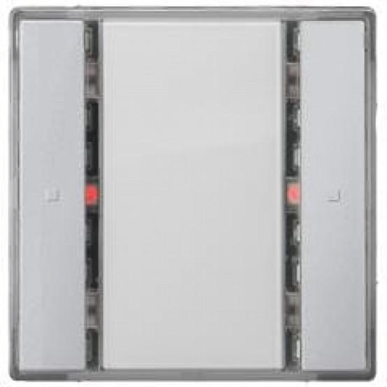 Выключатель кнопочный UP 221/2, одинарный, со светодиодом индикации, нейтральный, DELTA i-system, алюминиевый металлик