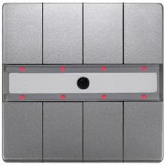 Четыре пары клавиш, светодиод состояния, с контроллером сцен, с ИК-приёмником, Платиновый металлик