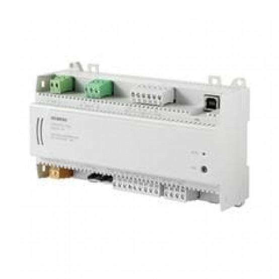 Комнатный контроллер BACnet/MSTP, 24 В, DIN-корпус, 1 DI, 2 UI, 2 AO, 6 симисторов, датчик давления, 60 точек данных