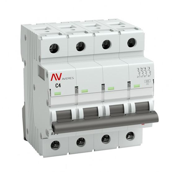Выключатель автоматический AV-6 4P 4A (C) 6kA EKF AVERES