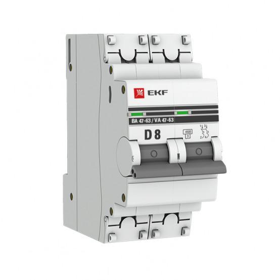 Автоматический выключатель 2P 8А (D) 4,5kA ВА 47-63 EKF PROxima