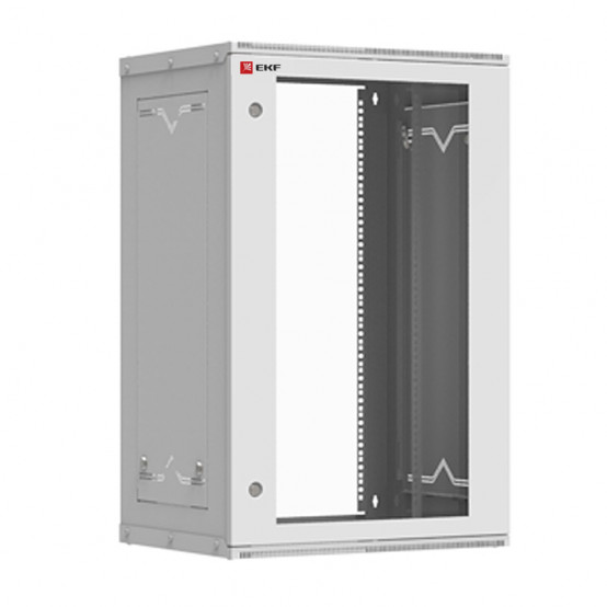 Шкаф телекоммуникационный настенный разборный 18U (600х450) дверь стекло, Astra серия EKF PROxima