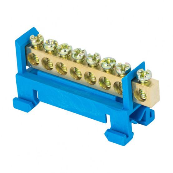 """Шина """"0"""" N (6х9мм) 8 отверстий латунь синий изолятор тип """"Стойка"""" на DIN-рейку EKF PROxima"""