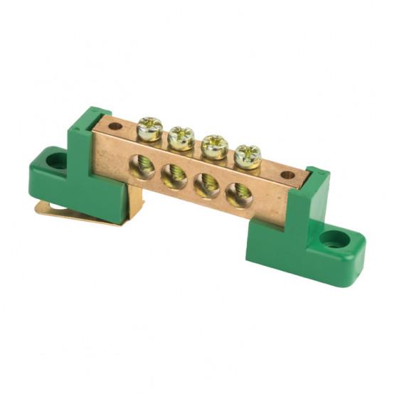 """Шина """"0"""" PE 6x9мм 4 отверстия латунь с контактной пластиной 2 зелёных угловых изолятора EKF PROxima"""