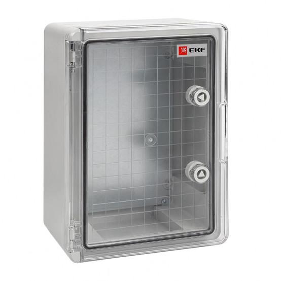 Бокс пластиковый с монтажной платой прозр. дверь 300х200х130 мм IP65 EKF PROxima
