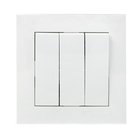 Валенсия Выключатель 3-кл. 10А белый EKF PROxima