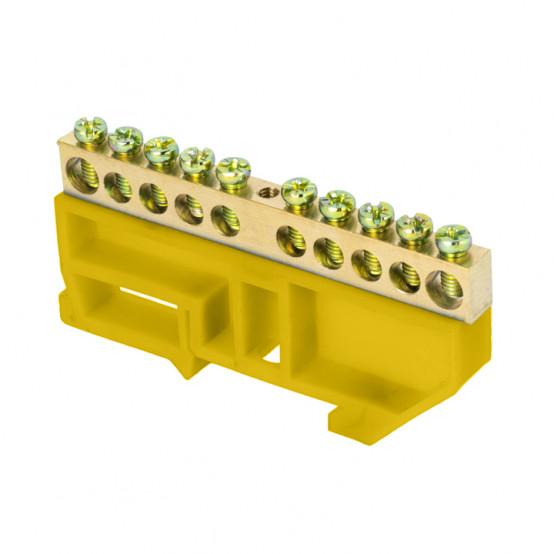"Шина ""0"" N (6х9мм) 10 отверстий латунь желтый изолятор на DIN-рейку розничный стикер EKF PROxima"