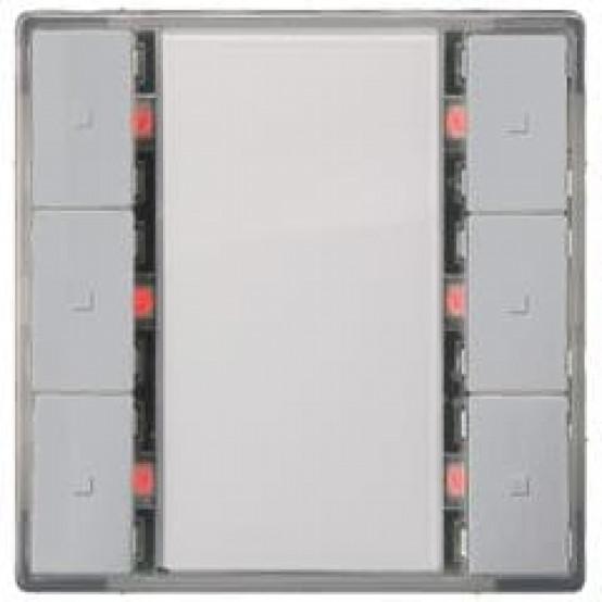 Выключатель кнопочный, тройной, светодиод состояния, алюминиевый металлик