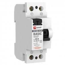 Устройство защитного отключения УЗО ВДТ-40 2P 40А/300мА (электронное) EKF Basic