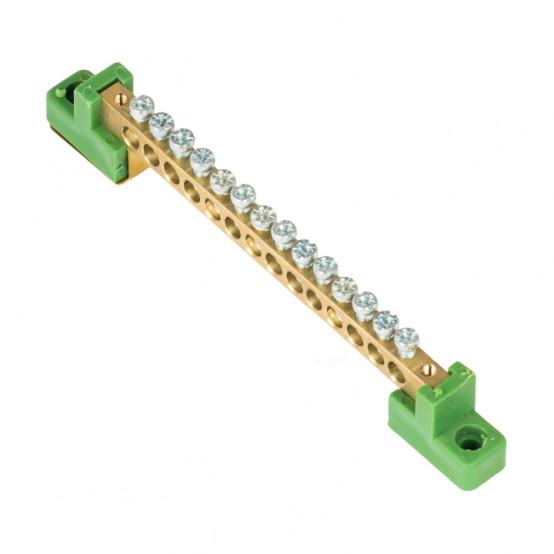 """Шина """"0"""" PE 6x9мм 14 отверстий латунь с контактной пластиной 2 зелёных угловых изолятора EKF PROxima"""
