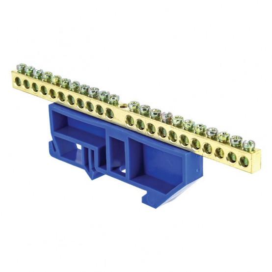 """Шина """"0"""" N (6х9мм) 22 отверстия латунь синий изолятор на DIN-рейку EKF PROxima"""