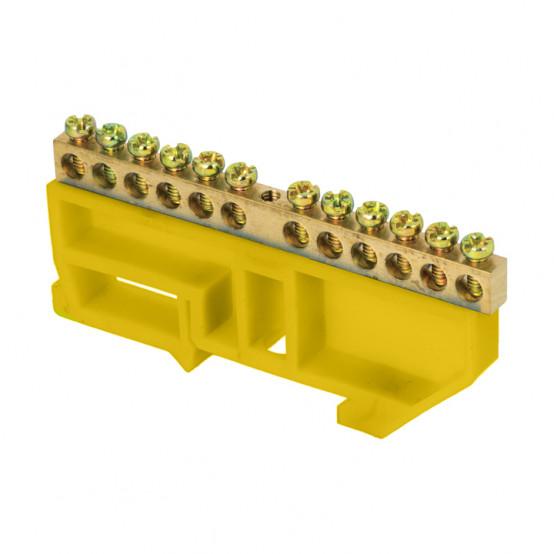 "Шина ""0"" N (6х9мм) 12 отверстий латунь желтый изолятор на DIN-рейку розничный стикер EKF PROxima"