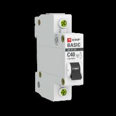 Автоматический выключатель 1P 40А (C) 4,5кА ВА 47-29 EKF Basic