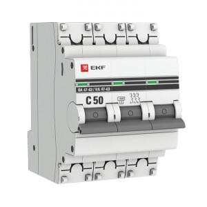Автоматический выключатель 3P 50А (C) 4,5kA ВА 47-63 EKF PROxima