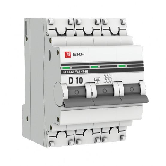 Автоматический выключатель 3P 10А (D) 4,5kA ВА 47-63 EKF PROxima