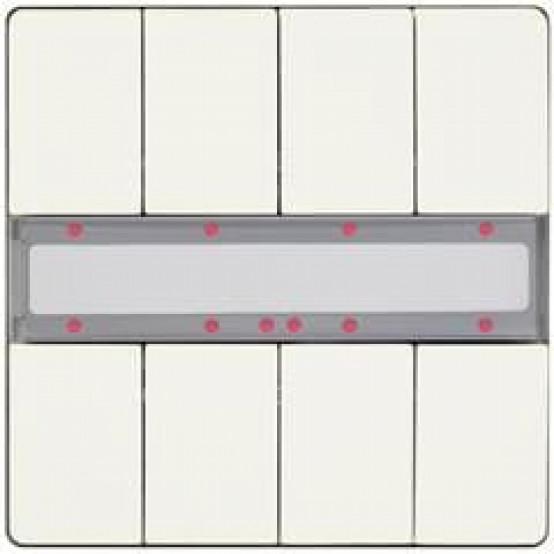 Выключатель кнопочный UP 287/14 DELTA style, двойной (4 кнопки), с LED-индикацией и термодатчиком, титановобелый (active, BTI, требует BTM UP 117)