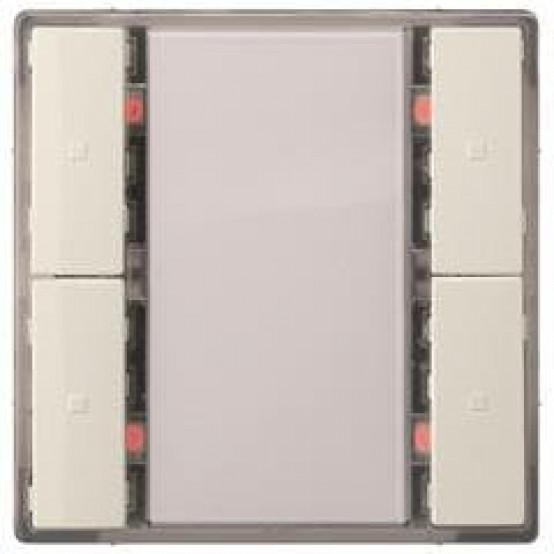 Выключатель кнопочный, двойной, без светодиода состояния, титаново-белый