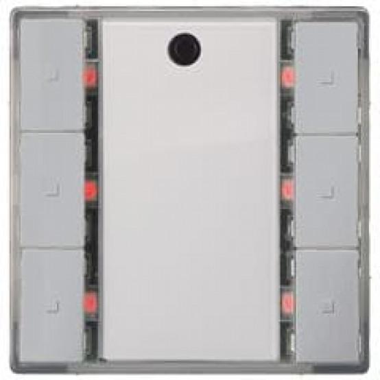 Выключатель кнопочный, тройной, светодиод состояния, с контроллером сцен, с ИК-приёмником, алюминиевый металлик