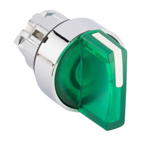 Исполнительный механизм переключателя ХB4 зеленый на 3 положения с фиксацией, с подсветкой с короткой ручкой EKF PROxima