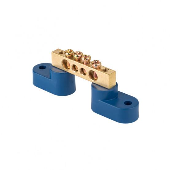 """Шина """"0"""" N (8х12мм) 4 отверстия латунь 2 синих угловых изолятора EKF PROxima"""