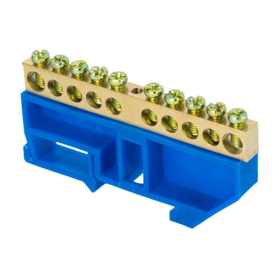 """Шина """"0"""" N (6х9мм) 10 отверстий латунь синий изолятор на DIN-рейку розничный стикер EKF PROxima"""