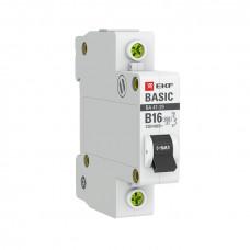 Автоматический выключатель 1P 16А (B) 4,5кА ВА 47-29 EKF Basic