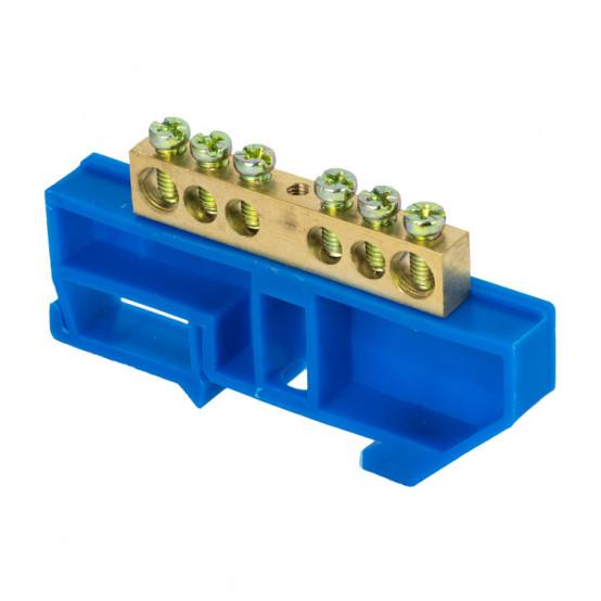 """Шина """"0"""" N (8х12мм) 6 отверстий латунь синий изолятор на DIN-рейку розничный стикер EKF PROxima"""