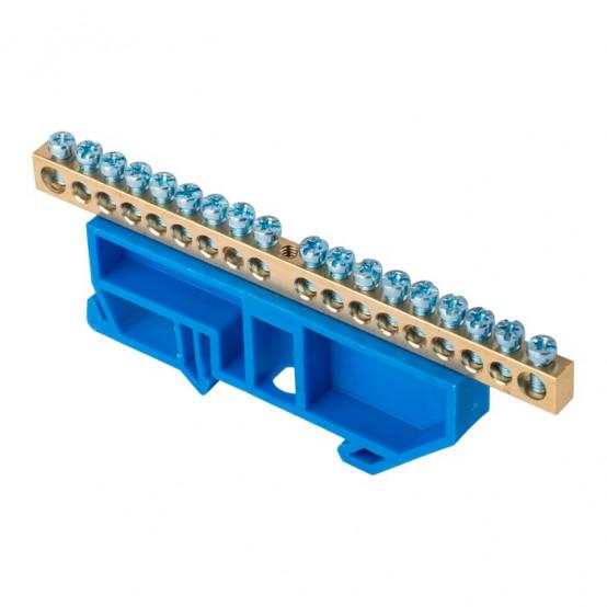 """Шина """"0"""" N (6х9мм) 18 отверстий латунь синий изолятор на DIN-рейку EKF PROxima"""