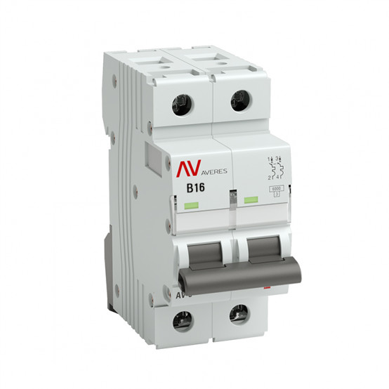 Выключатель автоматический AV-10 2P 16A (B) 10kA EKF AVERES