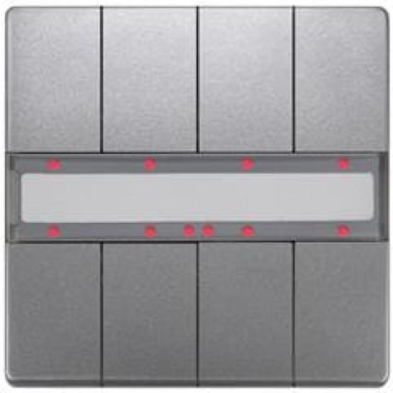 Выключатель кнопочный UP 287/44 DELTA style, двойной (4 кнопки), с LED-индикацией и термодатчиком, платина (active, BTI, требует BTM UP 117)