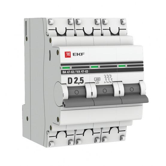 Автоматический выключатель 3P 2,5А (D) 4,5kA ВА 47-63 EKF PROxima