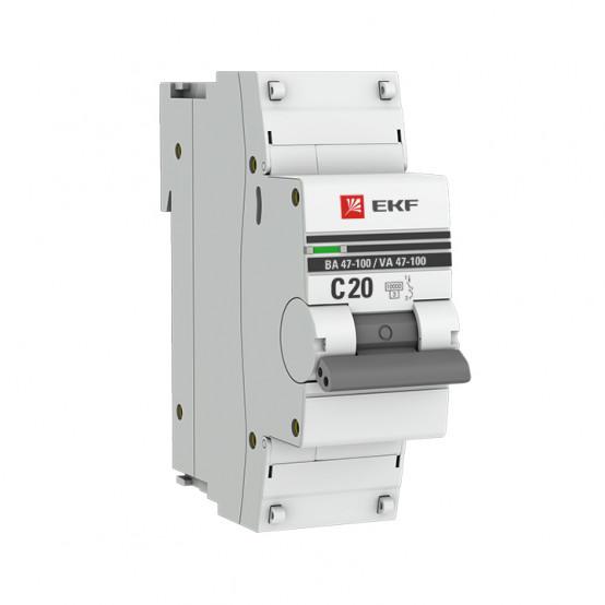 Автоматический выключатель 1P 20А (C) 10kA ВА 47-100 EKF PROxima
