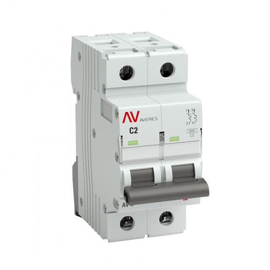 Выключатель автоматический AV-10 2P 2A (C) 10kA EKF AVERES